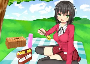 Rating: Safe Score: 26 Tags: black_hair food grass green_eyes kurokami_(kurokaminohito) landscape original ribbons scenic skirt thighhighs User: gnarf1975