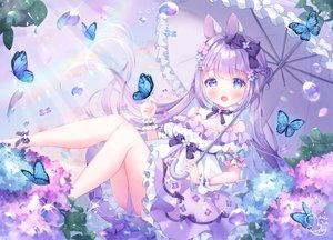 Rating: Safe Score: 84 Tags: animal_ears aqua_eyes bow bunny_ears butterfly flowers lolita_fashion long_hair omochi_monaka original purple_hair rainbow signed twintails umbrella water User: Fepple