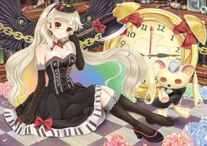 Rating: Safe Score: 54 Tags: blonde_hair bow breasts bunny chain cleavage collar dress elbow_gloves flowers goth-loli headdress kneehighs lolita_fashion long_hair mayu_(vocaloid) minamixdrops stockings vocaloid weapon wings yellow_eyes User: Flandre93