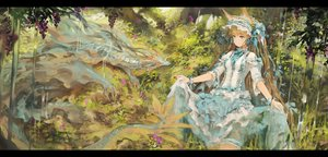 Rating: Safe Score: 39 Tags: animal_ears blonde_hair blue_eyes bow dragon dress food forest fruit garter headdress jean_(artist) lolita_fashion long_hair original ribbons skirt_lift tree water waterfall wristwear User: otaku_emmy