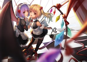 Rating: Safe Score: 220 Tags: 2girls apron blonde_hair fang flandre_scarlet headdress maid purple_hair red_eyes remilia_scarlet ribbons stockings touhou vampire weiyinji_xsk wings User: FormX