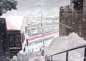 Rating: Safe Score: 77 Tags: building kazeno original scenic snow User: opai