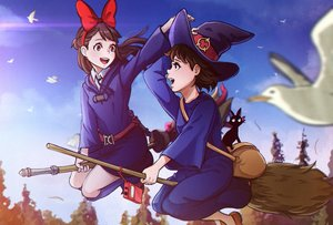 Rating: Safe Score: 52 Tags: 2girls animal bird boots bow brown_hair cat clouds dress hat jiji_(character) kagari_atsuko kiki little_witch_academia long_hair magion02 majo_no_takkyuubin red_eyes ribbons short_hair signed sky tree witch witch_hat User: RyuZU