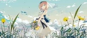 Rating: Safe Score: 90 Tags: aqua_eyes blonde_hair clouds dress flowers grass original short_hair sky sutorora User: RyuZU