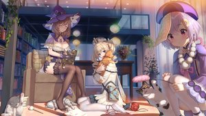 Rating: Safe Score: 128 Tags: animal barbara_(genshin_impact) cat genshin_impact haneru hat lisa_(genshin_impact) long_hair qiqi_(genshin_impact) short_hair thighhighs witch witch_hat User: Fepple