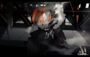 Rating: Safe Score: 15 Tags: all_male blood cigarette eyepatch goggles hoodie male orange_hair original shizu_(9394marimo) short_hair smoking User: FormX