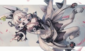 Rating: Safe Score: 68 Tags: aqua_eyes boots breasts chain cleavage collar dress elbow_gloves elphelt_valentine gloves guilty_gear huanxiang_huifeng pantyhose short_hair torn_clothes white_hair wink wristwear User: otaku_emmy