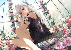 Rating: Safe Score: 96 Tags: butterfly dress flowers gray_hair hiromi_yuki long_hair original purple_eyes rose User: BattlequeenYume