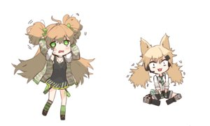 Rating: Safe Score: 19 Tags: 2girls animal_ears anthropomorphism blonde_hair brown_hair catgirl cat_smile chibi dress ganesagi girls_frontline green_eyes idw_(girls_frontline) kneehighs long_hair microphone necklace rfb_(girls_frontline) shirt shorts summer_dress tie twintails white User: otaku_emmy