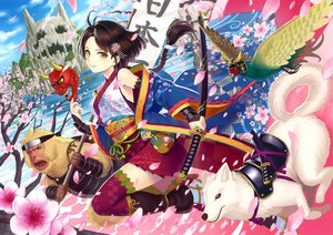 Rating: Safe Score: 142 Tags: animal bird cherry_blossoms dog japanese_clothes k+ katana kimono mask original petals scan sword thighhighs weapon User: FormX