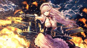 Rating: Safe Score: 65 Tags: anthropomorphism azur_lane belfast_(azur_lane) blue_eyes braids breasts catbell chain cleavage clouds collar dress fire long_hair maid sky weapon white_hair User: BattlequeenYume