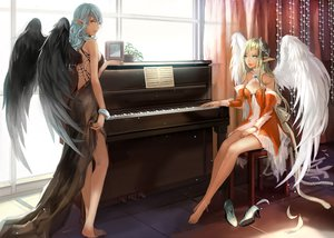 Rating: Safe Score: 327 Tags: 2girls barefoot blonde_hair blue_eyes blue_hair ddongu instrument original piano pointed_ears wings User: opai