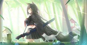 Rating: Safe Score: 92 Tags: animal black_hair cat flowers foxgirl green_eyes kikivi long_hair original photoshop User: Dummy
