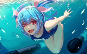 Rating: Safe Score: 99 Tags: blue_hair bubbles fang i-19_(kancolle) kantai_collection long_hair nian pink_eyes ribbons school_swimsuit swimsuit underwater water weapon User: Flandre93