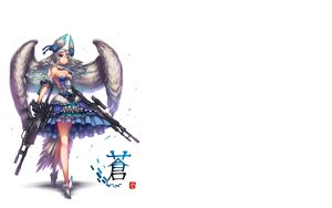 Rating: Safe Score: 184 Tags: blue_eyes breasts cleavage gia gray_hair gun long_hair original weapon wings User: SciFi