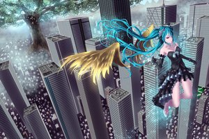 Rating: Safe Score: 16 Tags: hatsune_miku long_hair twintails vocaloid wings yusuke User: luckyluna
