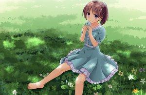 Rating: Safe Score: 124 Tags: amamiya_inari barefoot blue_eyes brown_hair cropped dress flowers grass original ponytail purple_eyes summer_dress User: gnarf1975