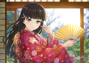 Rating: Safe Score: 70 Tags: black_hair close fan green_eyes japanese_clothes kimono kurosawa_dia love_live!_school_idol_project love_live!_sunshine!! shamakho signed User: RyuZU