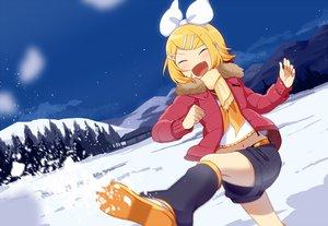 Rating: Safe Score: 38 Tags: blonde_hair blush clouds fang kagamine_rin navel nokuhashi scarf short_hair shorts sky snow tree vocaloid waifu2x winter User: RyuZU