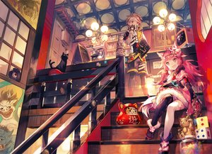 Rating: Safe Score: 60 Tags: animal animal_ears bell blonde_hair cat fang gloves japanese_clothes long_hair male original pink_hair scarf scorpion5050 short_hair shorts stairs thighhighs twintails User: BattlequeenYume