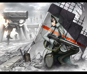 Rating: Safe Score: 222 Tags: black_eyes black_hair bodysuit boots clouds gia gloves gray gun hoodie original robot ruins short_hair signed weapon User: SciFi