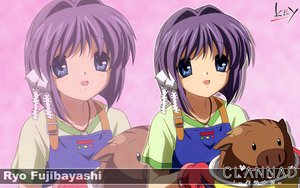 Rating: Safe Score: 11 Tags: apron botan clannad fujibayashi_ryou key logo purple_eyes purple_hair short_hair zoom_layer User: 秀悟