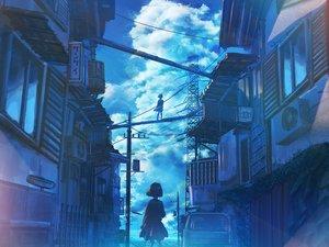 Rating: Safe Score: 58 Tags: building city clouds kenzo_093 original polychromatic scenic short_hair skirt sky User: RyuZU