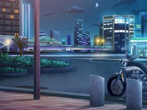 Rating: Safe Score: 53 Tags: building city clouds kokage moon motorcycle night scenic stars tagme User: HawthorneKitty