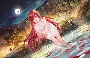 Rating: Safe Score: 102 Tags: clouds dress junpaku_karen long_hair moon night original red_eyes red_hair sky water User: BattlequeenYume