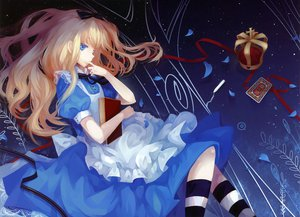 Rating: Safe Score: 74 Tags: alice_(wonderland) alice_in_wonderland blonde_hair blue_eyes book dhiea petals ribbons User: iSaber