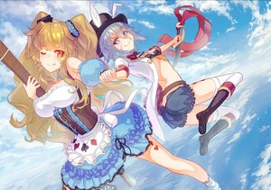 Rating: Safe Score: 28 Tags: 2girls alice_in_wonderland animal_ears anne_bonny aqua_eyes bikini_top blonde_hair breasts clouds cosplay fate/grand_order fate_(series) garutaisa gray_hair hat long_hair mary_read red_eyes scarf short_hair shorts skirt sky sword twintails weapon wink User: RyuZU