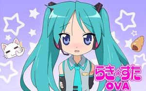 Rating: Safe Score: 55 Tags: animal blush cat hatsune_miku hiiragi_kagami lucky_star parody tie vocaloid User: rodri1711