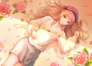 Rating: Safe Score: 47 Tags: bang_dream! flowers green_eyes hat imai_lisa long_hair lunacle orange_hair petals rose skirt User: RyuZU