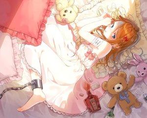 Rating: Safe Score: 60 Tags: aqua_eyes bandage barefoot bed blush bondage bunny dress drink hami_yura long_hair orange_hair original shackles teddy_bear User: BattlequeenYume