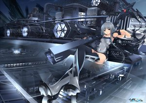 Rating: Safe Score: 125 Tags: bodysuit boots brown_eyes gloves gray gray_hair industrial jpeg_artifacts kopianget mechagirl original polychromatic thighhighs translation_request weapon User: luckyluna