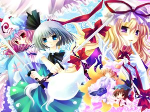 Rating: Safe Score: 32 Tags: animal_ears blue_eyes catgirl chen dress fang foxgirl gray_hair hat katana konpaku_youmu long_hair multiple_tails myon pink_hair purple_eyes red_eyes ribbons saigyouji_yuyuko sakurazawa_izumi short_hair sword tail touhou umbrella weapon yakumo_ran yakumo_yukari User: 秀悟
