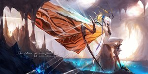 Rating: Safe Score: 44 Tags: anthropomorphism aqua_eyes bodysuit dako6995 elbow_gloves gloves godzilla_(series) headdress mothra original pointed_ears short_hair signed skintight water white_hair wings User: BattlequeenYume