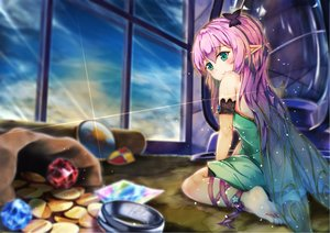 Rating: Safe Score: 52 Tags: barefoot clouds dress fairy green_eyes hinoka long_hair original pink_hair pointed_ears ribbons sky wings User: BattlequeenYume