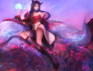 Rating: Safe Score: 74 Tags: ahri_(league_of_legends) animal_ears black_hair fanelia-art foxgirl kneehighs league_of_legends magic multiple_tails signed tail yellow_eyes User: mattiasc02