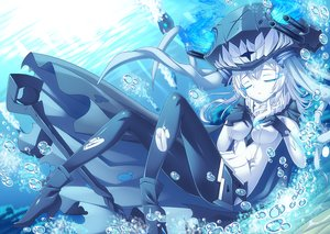 Rating: Safe Score: 71 Tags: anthropomorphism blue bubbles gloves kantai_collection monochrome tonchan underwater water wo-class_aircraft_carrier User: luckyluna