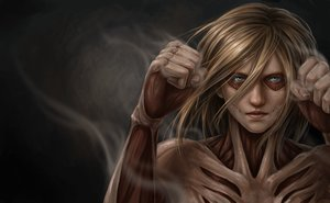 Rating: Safe Score: 89 Tags: blonde_hair blue_eyes female_titan jason_peng realistic shingeki_no_kyojin User: Flandre93