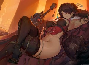 Rating: Questionable Score: 113 Tags: beidou_(genshin_impact) brown_hair chinese_clothes chinese_dress cutesexyrobutts dress eyepatch genshin_impact long_hair navel no_bra nopan red_eyes signed sketch sword thighhighs weapon User: BattlequeenYume