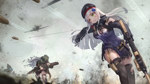 Rating: Safe Score: 105 Tags: 2girls aircraft anthropomorphism bra breasts cleavage g11_(girls_frontline) garter girls_frontline gloves green_eyes gun hat hk416_(girls_frontline) jay_xu long_hair military shorts skirt tattoo tears thighhighs torn_clothes underwear weapon white_hair zettai_ryouiki User: otaku_emmy