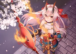 Rating: Safe Score: 72 Tags: armor bow bow_(weapon) elbow_gloves fate/grand_order fate_(series) fire flowers gloves headband horns long_hair magic mashiro_aa orange_eyes petals samurai tomoe_gozen weapon white_hair User: otaku_emmy