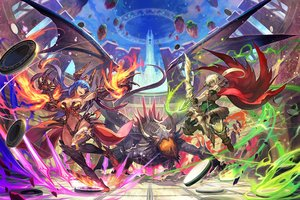 Rating: Safe Score: 102 Tags: armor blonde_hair blue_hair bow_(weapon) breasts cape dark_skin dragon elbow_gloves fire headdress lack long_hair magic navel original ponytail purple_eyes thighhighs weapon User: Flandre93
