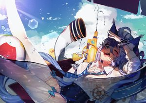 Rating: Questionable Score: 43 Tags: animal_ears clouds green_eyes houchi_shoujo long_hair nipples no_bra purple_hair rimsuk see_through sky stockings tagme_(character) tie water User: BattlequeenYume