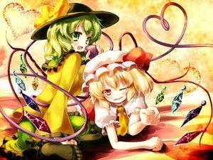 Rating: Safe Score: 38 Tags: 2girls blonde_hair flandre_scarlet gengetsu_chihiro gray_hair green_eyes hat komeiji_koishi red_eyes touhou vampire wings wink User: FormX