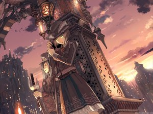 Rating: Safe Score: 48 Tags: building city green_eyes hat katana original scenic sword teikoku_shounen weapon User: rodri1711
