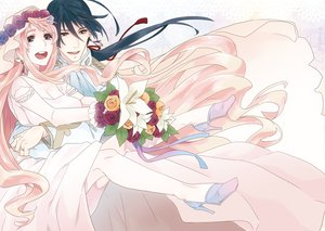 Rating: Safe Score: 27 Tags: macross macross_frontier male saotome_alto sheryl_nome wedding wedding_attire User: HawthorneKitty