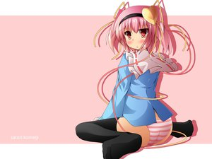Rating: Questionable Score: 64 Tags: komeiji_satori liya panties pink pink_hair red_eyes striped_panties thighhighs touhou twintails underwear User: opai